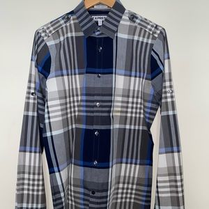 Blue and Charcoal Striped Dress Shirt